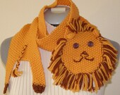 Cute Child's Lion Scarf.  Machine washable merino wool. Yellow-orange and brown. Charity Donation - Priority Shipping