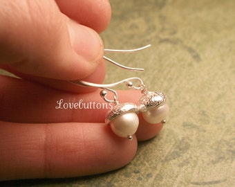 Winter White Fine Silver Acorn Earrings with Freshwater Pearls