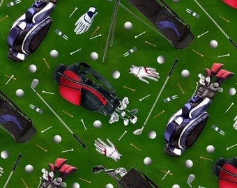 Sports Collection Golf Equipment Green by Elizabeth's Studio BTY
