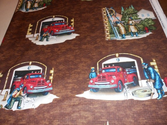 "Local Heroes Firehouse Fire Truck 24"" Panel Fabric for VIP Exclusive Fabric BTP"