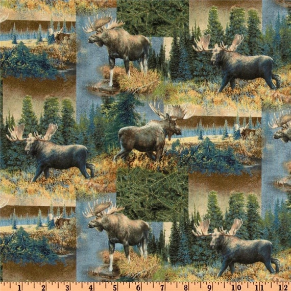 Caldwell Creek Moose In The Wild Collage Quilting Fabric from Springs Creative BTY