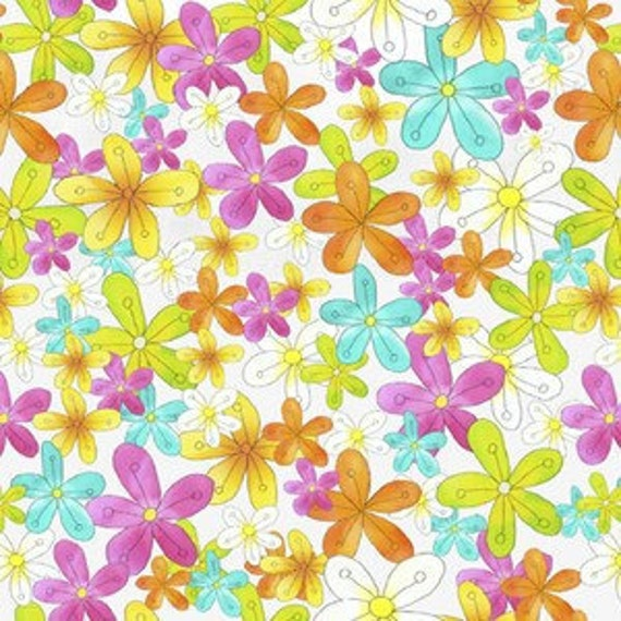 Groovy Floating Flowers on White Retro Floral By Studio E BTY OOP