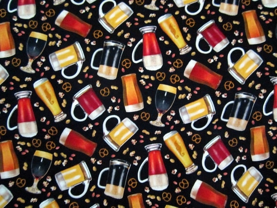 Happy Hour Beer and Pretzels On Black Fabric BTY