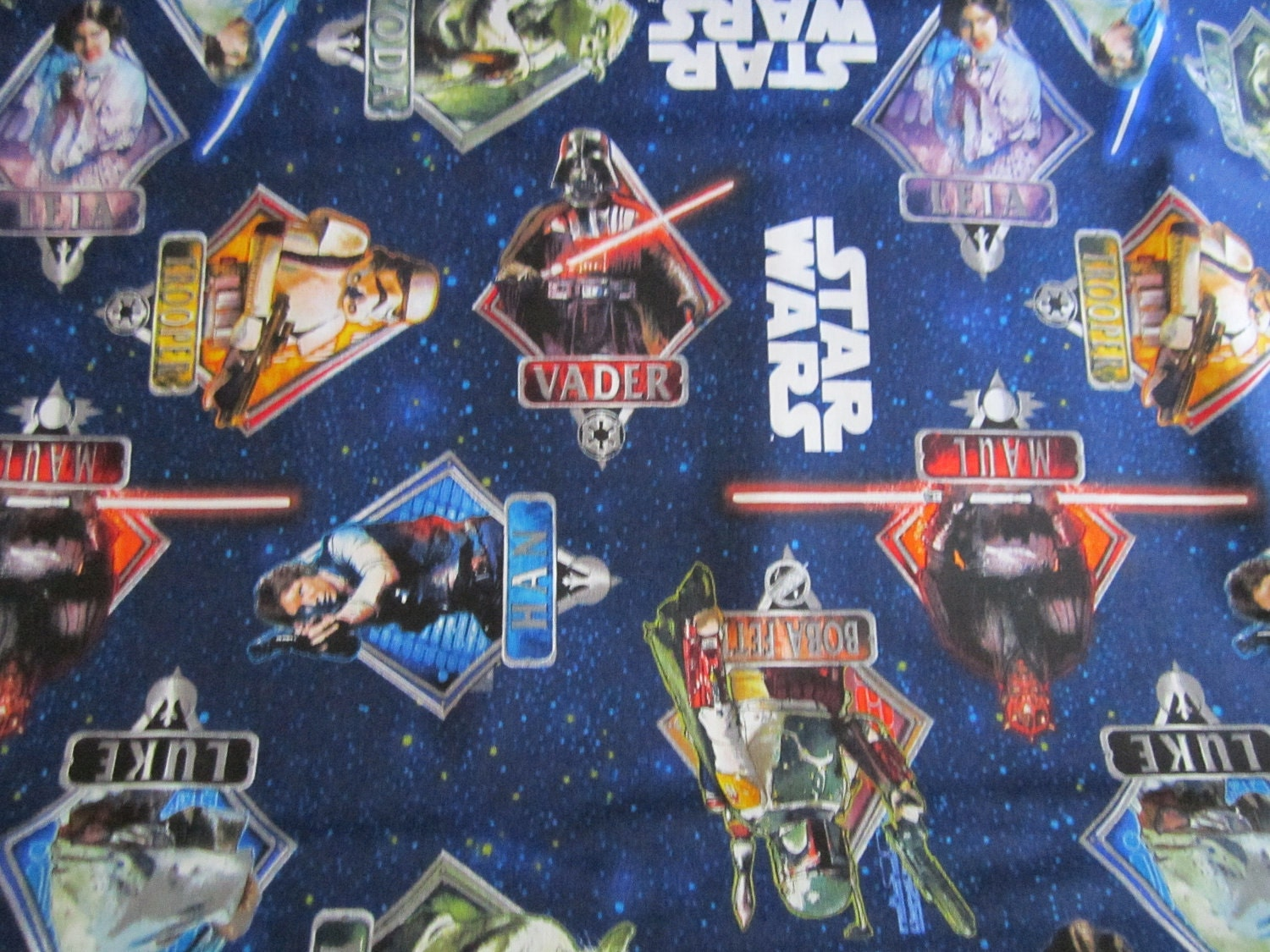Reserved for lorrie 2 5 yards multi star wars characters in for Star wars fabric