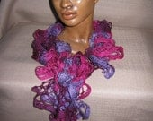 58 inch long Crocheted Ruffled Fashion Scarf Plum Preserves Starbella Yarn