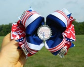4th of July Blue, Red, White, Polka Dot, Striped, Damask and Silver Sequin Large Custom Boutique Hair Bow with Happy 4th Bottle Cap