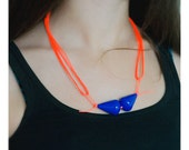 LE MUSTACHE Necklace - Neon orange string and Deep Blue beads