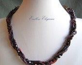Purple Canyon Fiber and Beads for Convertible Necklace