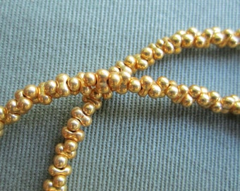 Bright Gold Farfalle Peanut  Necklace for Multi Strand Collection small gold bead interlock detatchable