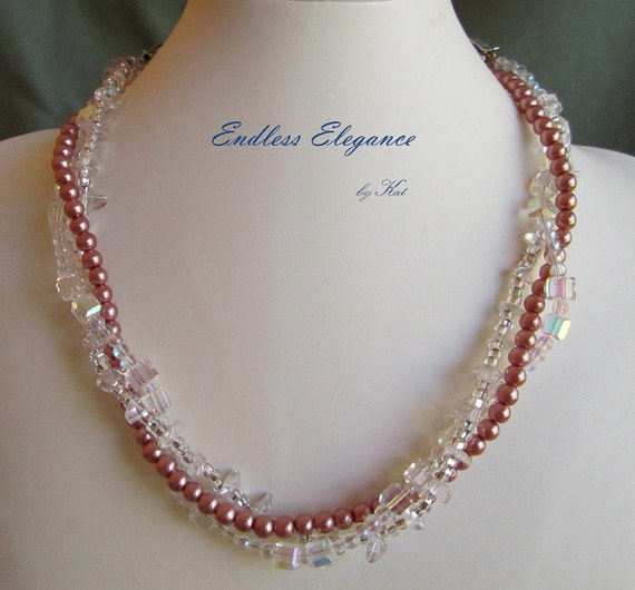 Soft Rose Glass Pearls for Endless Elegance Convertible Necklace