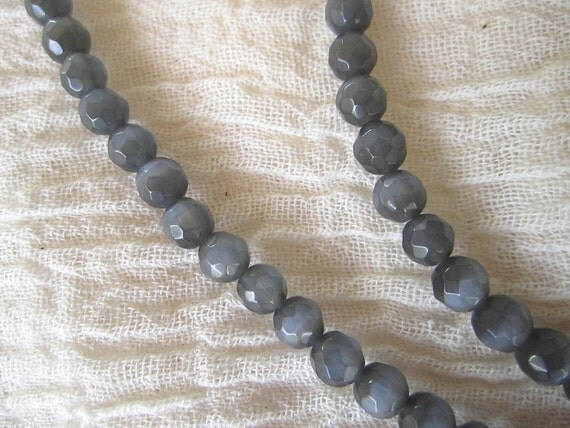 Faceted Grey Cats Eye Bead Strand for Endless Elegance