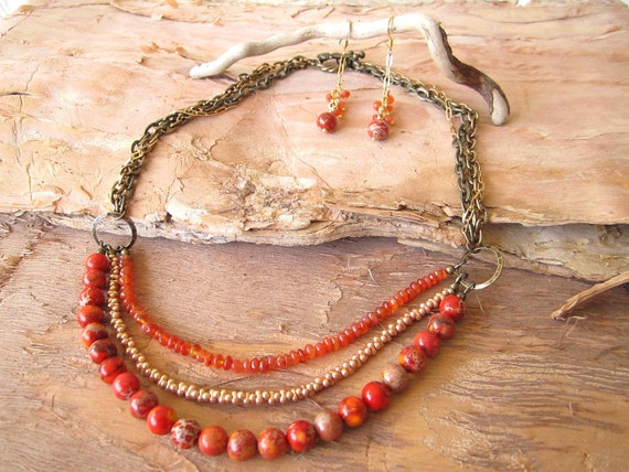 Orange Gemstone Multi Strand Necklace and Earrings