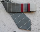 Up-cycled 1960s Necktie // Mod // Red, Grey, and White