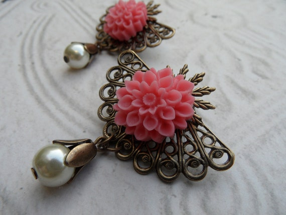Shoe Clips // Pink Chrysanthemums and Pearls