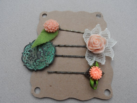 Flower and Lace Hair Accessory Set // Pink and Green