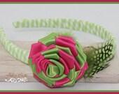 2 Toned Color Ribbon/Fabric Rose w/ Headband  PDF Tutorial