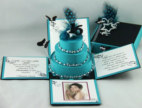 Turquoise Blue & Black  Exploding Box Invitations w/ 3-Tier Cake (Initial Deposit Only)