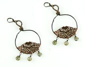 Antique Copper filigree and Labradorite Hoop Earrings