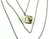 Antique Glass Cube Photo Necklace with Layered Mixed metal Chain