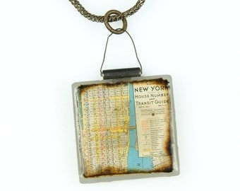ON SALE  // Necklace NYC Vintage Map on Glass Pendant