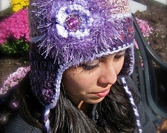 Purple adult hat with flappers