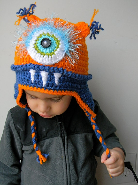 Monster hat with Orange and Blue