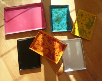 Vintage yet new lacquer and plastic trays by Takahashi - Mid modern stunning (: