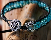 Bracelet Blue Glass Czech Seed Beads Black Leather Artisan Silver Tube Beads Floral silver button