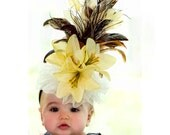 Baby Hat - Yellow and Brown Feathered Fascinator Hat for Little Girls - Photo Prop