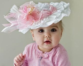 Baby Hat - CUSTOM ORDER -  Baby Fascinator Hat for Birthday, Church, Tea Party, Photo Prop - Frilly Hat
