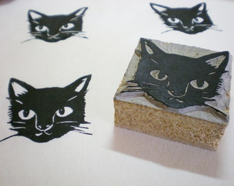 """A Black Cat Stamp -Hand Carved 2"""" x 2""""- Made to Order"""