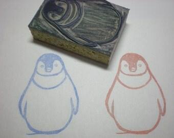 "Penguin Stamp - Hand Carved Linoleum Block 2"" x 3""- Made to Order"