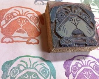 "Pug -Linoleum Stamp 2"" x 2""- Made to Order"