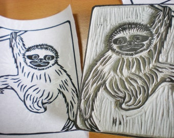"""Sloth Stamp - hand carved linoleum block - 3"""" x 4"""" - Made to Order"""