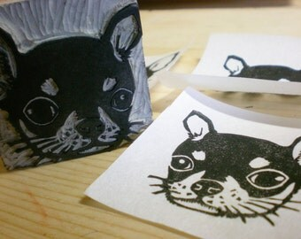 """Chihuahua Stamp - Hand Carved Linoleum Stamp 2"""" x 2"""" - Made to Order"""