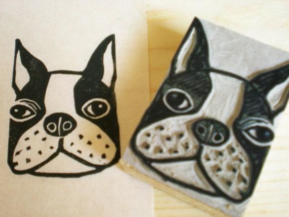 "Boston Terrier Dog Stamp -hand carved linoleum block 2"" x 3""- Made to Order"