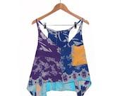90s rayon fishy print Drapey Vest or Tank Handmade L