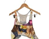 Crop Top Camisole in 70s Fabric Patchwork Upcycled Eco DIY Vest size  Medium