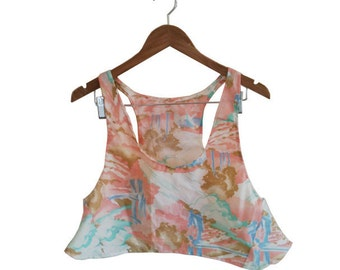 Vintage 70s Dreamy Pastel Landscape Print Fabric Handmade Crop Top Camisole size Large sold as is