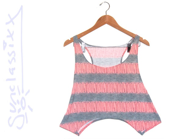 Striped Pink Crop Top in 80s Skater Fabric size Large