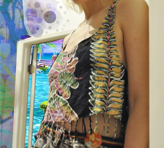 80s Floral Print Tropical Fringed Rayon Crop Top size Medium handmade one of a kind
