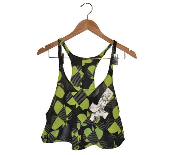 Black and Lime Floral Mod Geometric Sheer Crop Top with White Repurposed Leather Cross Applique size Medium