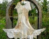 BEACH BUBBLES DoilyDarlings Vintage Lace Cotton Flower Crochet Patchwork Doily Dress