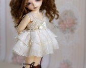 Cream dress for TINY bjd LittleFee