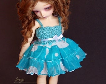 Polkadot turquoise dress for TINY bjd LittleFee