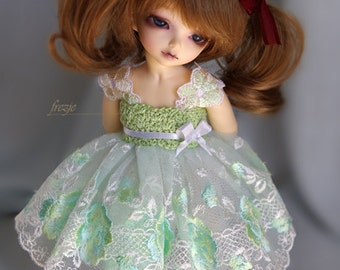 Mint dress for TINY bjd LittleFee Momocolor29/Momotree29, Saintbloom
