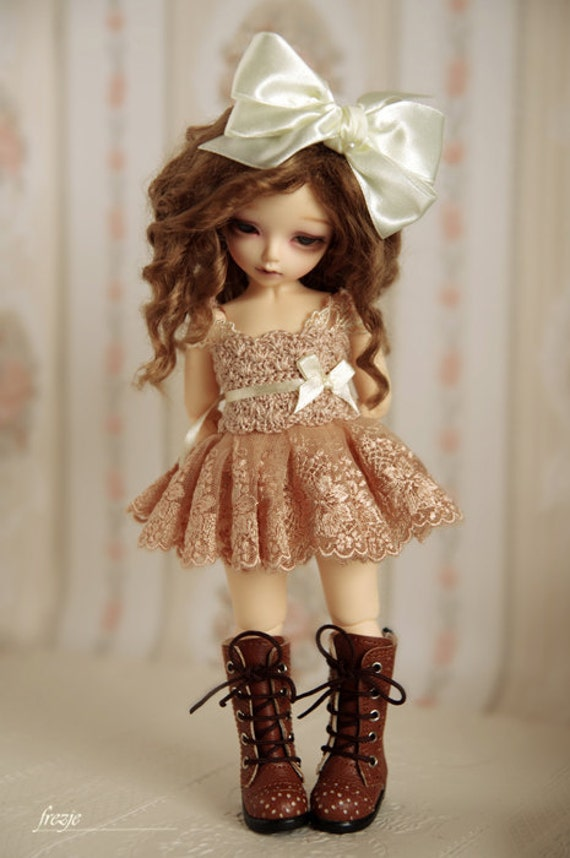 Cappuccino dress for TINY bjd LittleFee