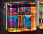 "Modern Colorful Abstract Art  - 7/8"" Thick Glass Square Magnets"