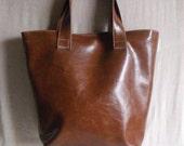 Tote Bag Diaper Bag Carry All Bag Brown Vegan Faux Leather