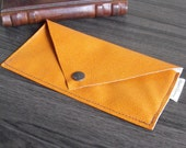 Envelope Coupon Wallet Tangerine Orange Vegan Faux Leather